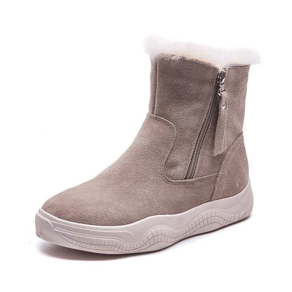 Schuhe Zip Mode Sohle Stiefeletten Schnee Damen Winter Von Plüsch Für Großhandel Stiefel Dicke Warme Frauen 2019 Leder GVpqzMSU