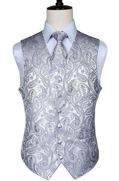 Erkek Klasik Paisley Jakarlı Yelek Yelek Mendil Parti Düğün Kravat Yelek Suit Cep Kare Set Q190427