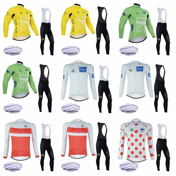 TOUR DE FRANCE Radtrikot Winter-Thermo-Fleece (Lätzchen) Set für lange Hosen Quick-Dry Fahrradbekleidung Sportbekleidung Ropa Ciclismo K022509