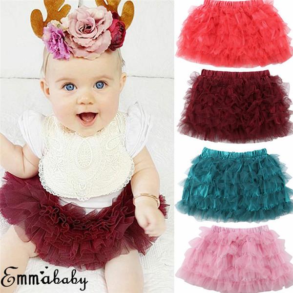 Adorable Baby Girls Tulle Princess Skirt Kids Mini Ball Gown Solid Cotton Skirt Newborn Party Tutu Short Ballet Skirts Sundress