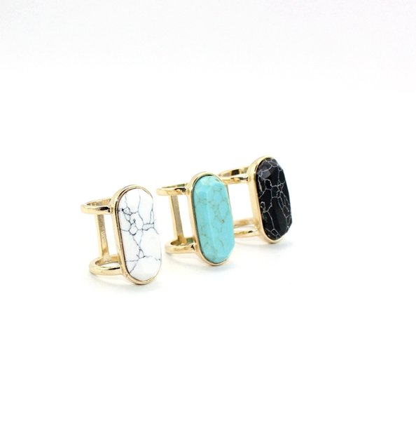 Fashion Natural Stone Ring Geometry Oval White Blue Turquoise Ring Gold Plated for women jewelry