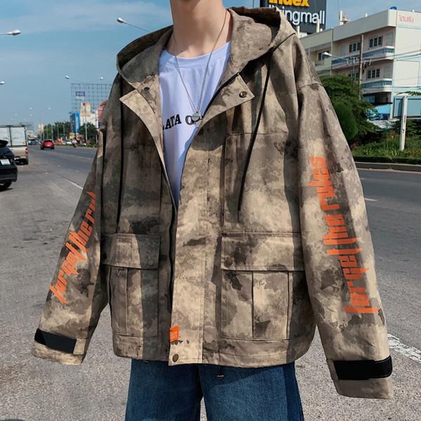 Hong Kong Wind Spring Trend Ins Tooling Jacket Korean Version Loose Tide Brand Japanese Harajuku Handsome Camouflage Boy Jacket SH190821