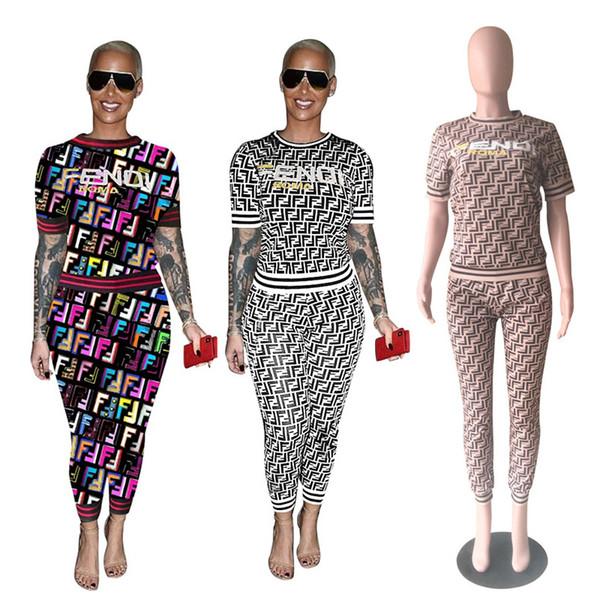 FF Frauen Trainingsanzug Damen Lässig Passende Outfits Sommer Kurzarm T-shirt T Hosen Leggings Mode Zweiteilige Sets S-3XL Neue C444
