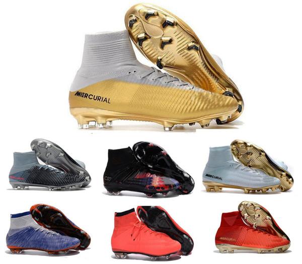 Zapatos de fútbol para niños de alta calidad para hombre Mercurial CR7 Superfly V FG Botas de fútbol para niños Magista Obra 2 Mujeres Jóvenes Botines de fútbol Cristiano Ronaldo