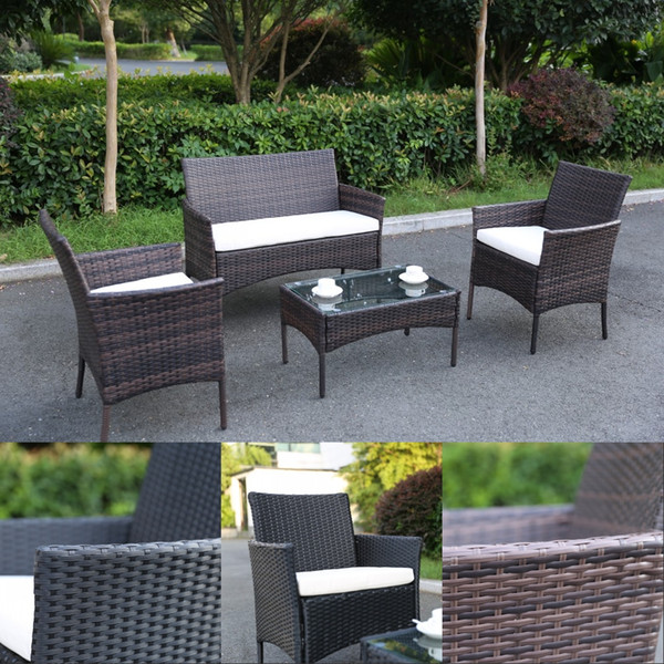 Patio outdoor rattan furniture 4 piece brown black 2 armchair coffie table for garden 4 pc garden patio furniture