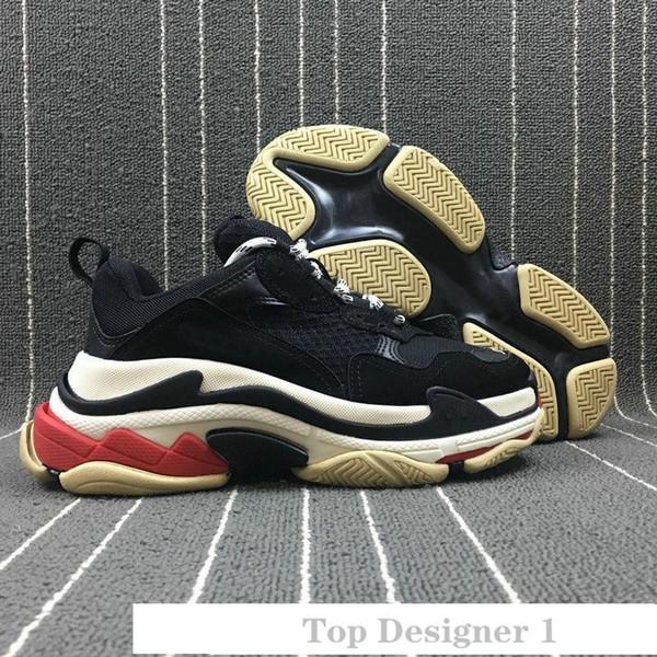 Ayakkabı 36-45 1 Running Erkekler Kadınlar Bej Siyah Spor Tennis için 2019 INS Moda Paris 17FW Triple-S Sneaker Triple S Casual Luxury baba Ayakkabı
