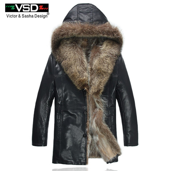 Coats Raccoon Fur PU Leather Jacket Hat Homens da forma do inverno Freeshipping do Mantenha Leather Jackets Quente Man alta qualidade Hot Sale VS