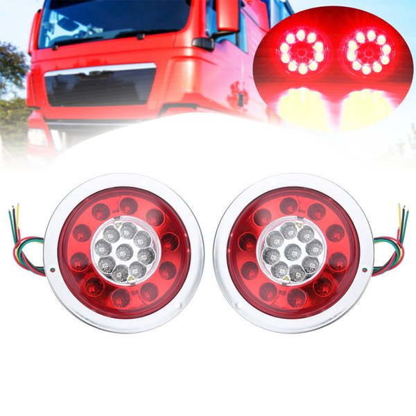 wholesale 12V/24V 1 Pair 19 LEDs Car Rear Tail Lights Stop Brake Taillight Round Rubber Ring Lamp for Truck Trailer Vehicles