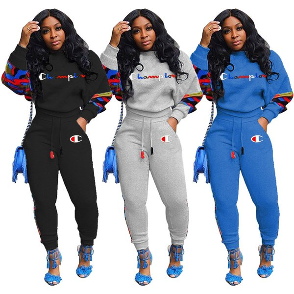 Women Champion Brand Tracksuit Fleece Lined Hoodie Tops and Pants Trouses Two Piece Outfit Fleeced Sportswear Jump Suit Sport Sets C121203