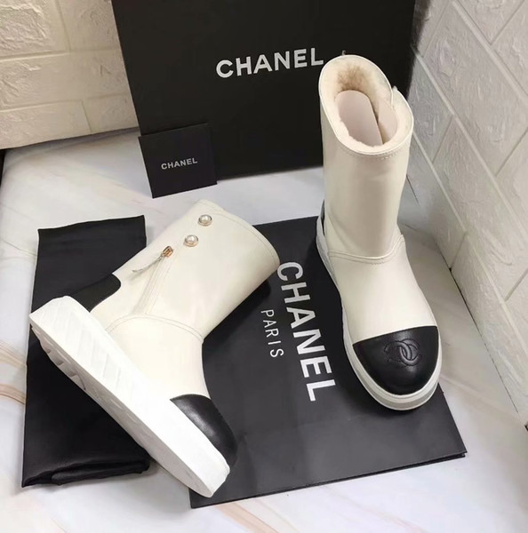 Winter New Brand Mixed Color Snow Boots For Girl Chic Sewing Upper Ankle Boots For Women Round Toe Rubber Heel Plush Shoes Woman