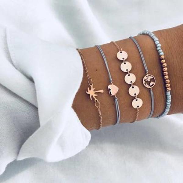 5 Pcs/ Set Punk Vintage Hot beach Coconut Tree Map Heart Charm Bracelet Sets For Women Blue Rope Chain Bracelets Beads Jewelry