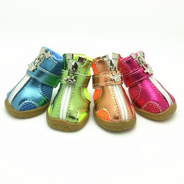 Pet Moda Serisi Köpek Ayakkabı Patik Silikon Tabanı Nefes Örgü Köpek Botları 5 Boyutları 5 Renkler Ücretsiz Kargo