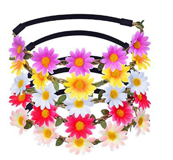 50PCS MOQ Bohemia Flower Wreath Daisy Garland Elastic Rubber Headband Nice Hair Flower Crown Accessories For Wedding Party Hair Decor