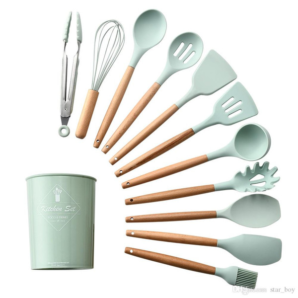 2019 Silicone Cooking Kitchen Utensils Set With Holder Wooden Handle Cooking Tool Bpa Free Non Toxic Turner Tongs Spatula Spoon Nonstick Cookware From