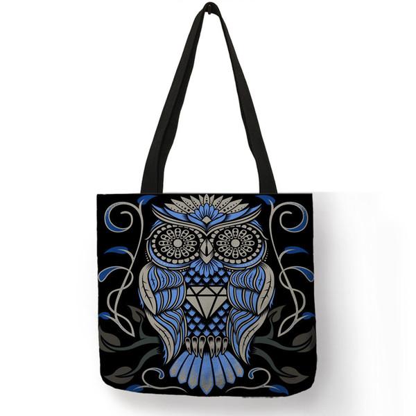 Fashion Design Bolsos Mujer Tote Bags For Women 2019 Blue Red Skull Image Handbag Eco Linen Practical Shop Office Shoulder Bag