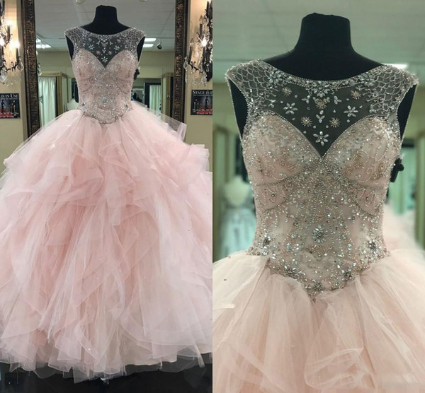 2018 Pink Blush Quinceanera Dresses Ball Gown Princess Bateau Sheer Neck Beaded Back Lace-up Sweet 16 Girls Prom Dresses