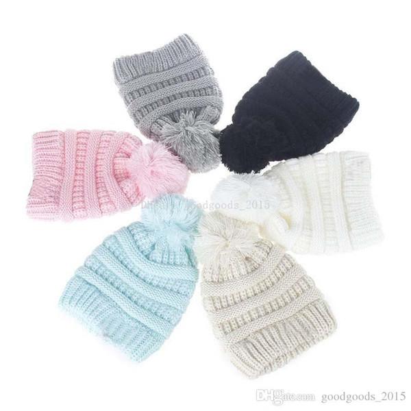 Niños Beanie de punto Pom Pom sombreros niños sombreros Baby Boy Winter Cap Toddler Skullies caliente gorros M063