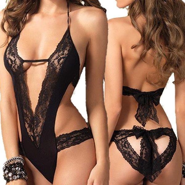 Nueva ropa interior sexy caliente encaje negro empalmado ropa interior erótica disfraces tentación transparente ropa de dormir de las mujeres ropa interior sexy