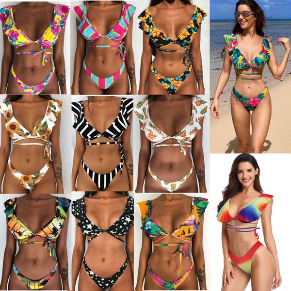 Bikini eingestellt Rüschen Badeanzug Verband Bademode Zweiteilige Blumen Freche Unten Bathingsuit Beach Wear New DHL-freies Verschiffen