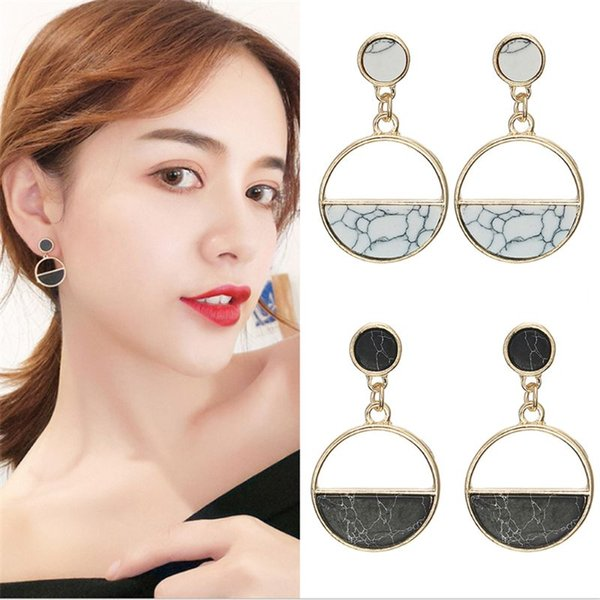 Acrylic Marble Earrings Geometric Circular Earrings Bijoux fantaisie pour femme