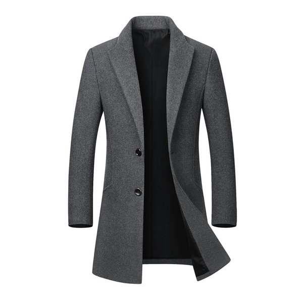 new 2019 casual men's jackets men's autumn winter casual medium length lapel woollen windbreaker jacket coat coats - from $50.43