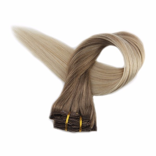 Full Shine Clip Ombre Color#8 Brown Fading To 60 Platinum Blonde 7pcs 50g 100% Real Remy Human Hair Clip In Extensions