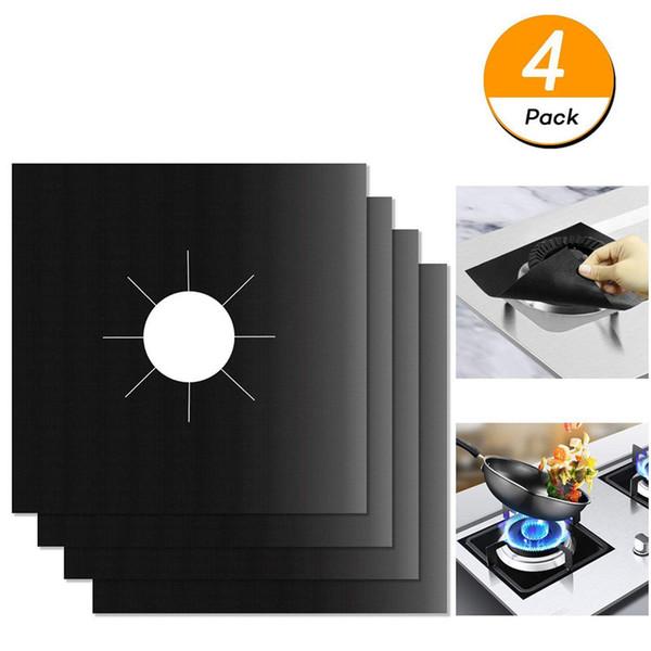 4Pcs/set Reusable Gas Stove Protector Non-Stick Glass Fiber Gas Stove Burner Cover Mat Pad Clean Liner For Kitchen Cookware