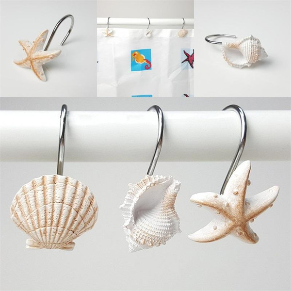 top popular White Brown Hanging Hooks Resin Bath Curtain Hook Starfish Conch Shell Modeling Bathing Room Articles EEA434 2019