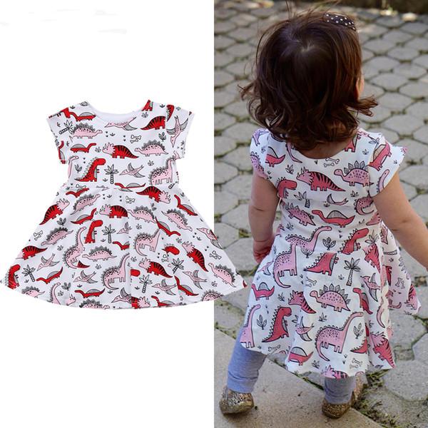 Crianças Do Bebê Meninas de Algodão Mangas Curtas Dinossauro Animal Bonito Roupas Vestido Roupas Roupas de Verão
