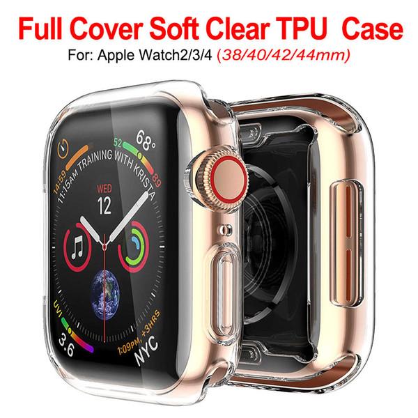 Custodia protettiva in silicone trasparente ultra sottile trasparente in TPU per Apple Watch Serie 4 3 2 1 40mm 44mm 38mm 42mm