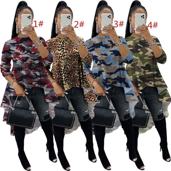 Femmes Sweat-shirts à manches longues grandes femmes swing tops impression de mode Hauts chemisiers survêtement en tête longue irrégulière klw3092