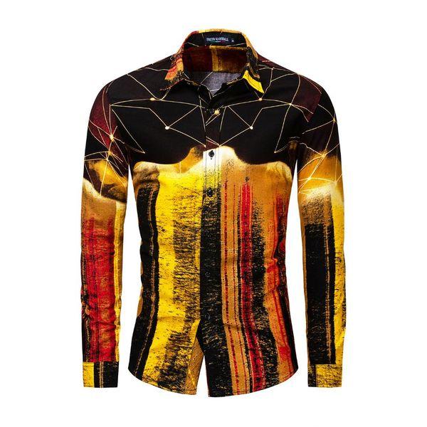 Casual Button Down Shirts Geometric Print Männer Langarm Umlegekragen Baumwolle Mann Kleidung EU Größe Ropa de Hombre 2019