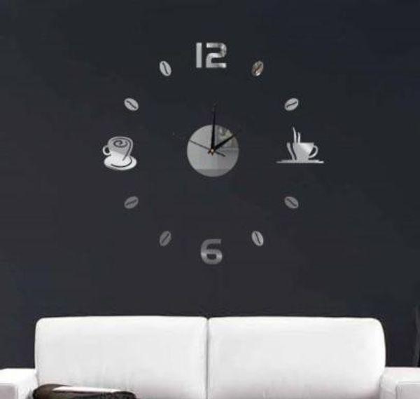Wholesale- Funlife(TM) DIY Coffee Cups Kitchen bar wall art mirror clock modern design silent watches home decoration wall clock wc1020