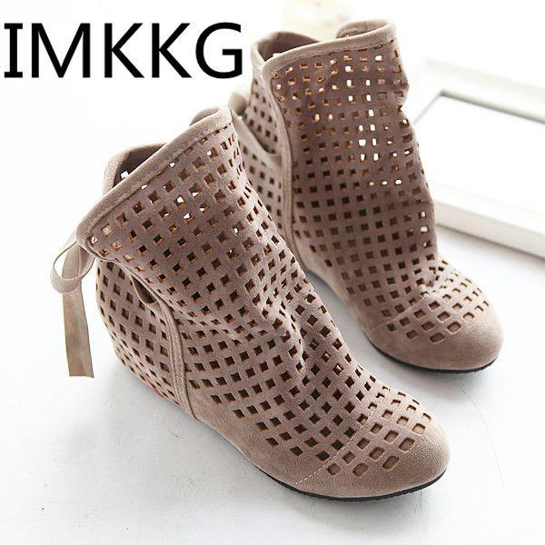 Big Size 34-43 Women's Summer Boots Flat Low Hidden Wedges Cutout Women Boots Ladies Dress Casual Shoes Cute Flock V227