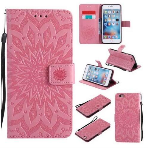 Mandala Flower Embossed Flip Wallet Leather Cover Phone Case for iphone X XR XS MAX 8 7 6G Plus Galaxy S8 S9 Plus