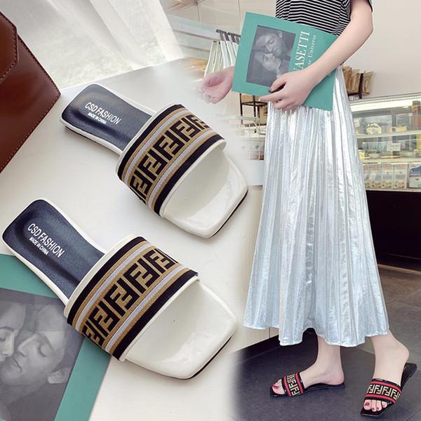 Moda de lujo de las mujeres sandalias de verano clásico de cuero de la PU + tela diseñador damas deslice los zapatos antideslizantes sandalias de goma Beach Wear C61005