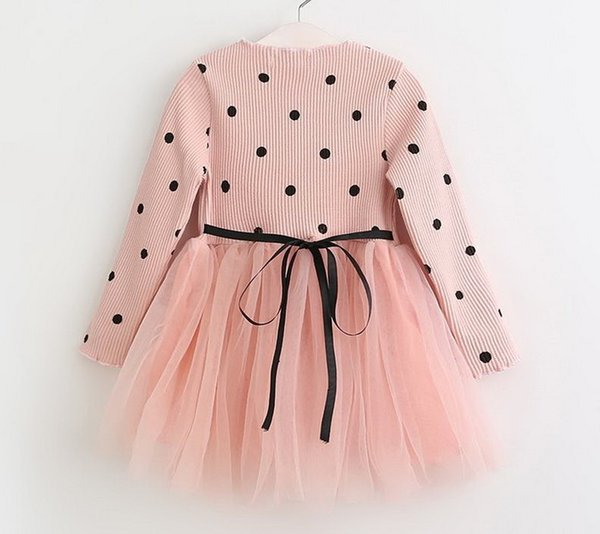 2019 Yeni Bahar ve sonbahar ipliği iplik ekleme dalga noktası kızın elbise prenses tül elbise çocuk giyim