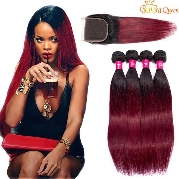 Two Tone Burgundy человеческих волос Пучки Virgin перуанский малазийский Straight Ombre переплетений с кружевом Закрытие 1B 99J Wine Red Colored Extensions