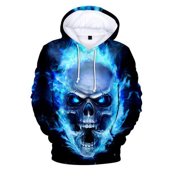 latest Blue flame Skull 3d Hoodies Pullover printed fashion cool hip hop Long Sleeve sport men women Hoodie 3D Hooded Sweatshirt
