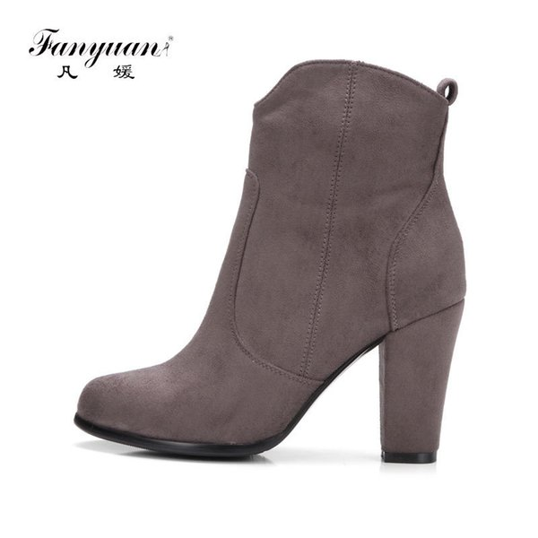966f671aa2 Fanyuan Autumn Winter Flock Ankle Boots for Women Chunky High Heeled Boots  Female Round Toe Concise