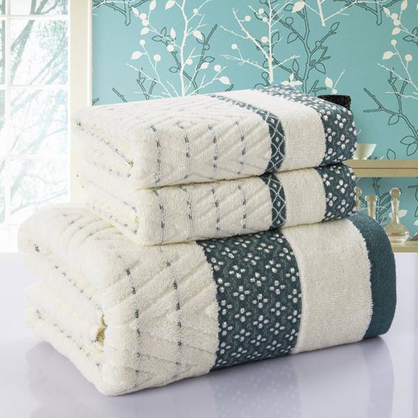 Diamond Plaid 3pcs toalla 100% algodón baño playa toalla cara juegos para adultos 33 cm * 75 cm * 2 p 70 cm * 140 cm * 1 p baño de bambú