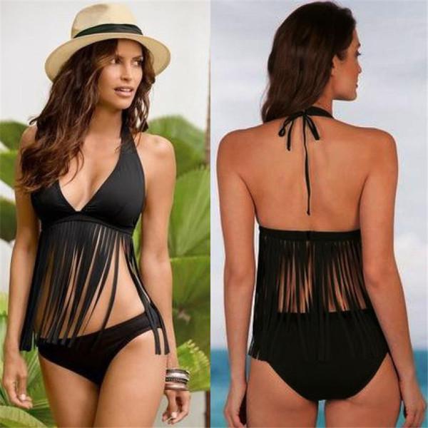 Kadınlar Backless Frenum polyester elyaf Bikini Beach baskı