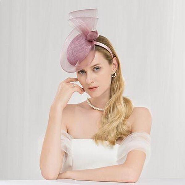 Fascinators élégant pour les femmes de chapeau pourpre de mariage pour le mariage dames chapeau Fedora Black Chapeau Vintage Party