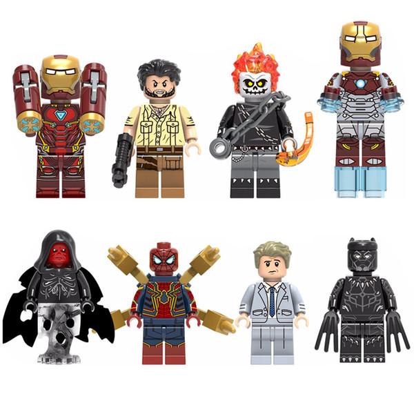 Nuovi Avengers Super Hero Iron Man Ulisse Klaw Ghost Rider Red Skull Spider Man Everett Rose Black Pather Mini Toy Figure Building Block