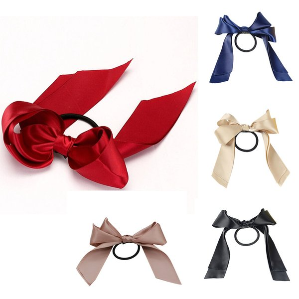 NEW 1PCS Women Lady Ribbon Bow Rope Scrunchie Satin Ponytail Holder Hair Band Hair Accessory Girl Beauty Holder dropping