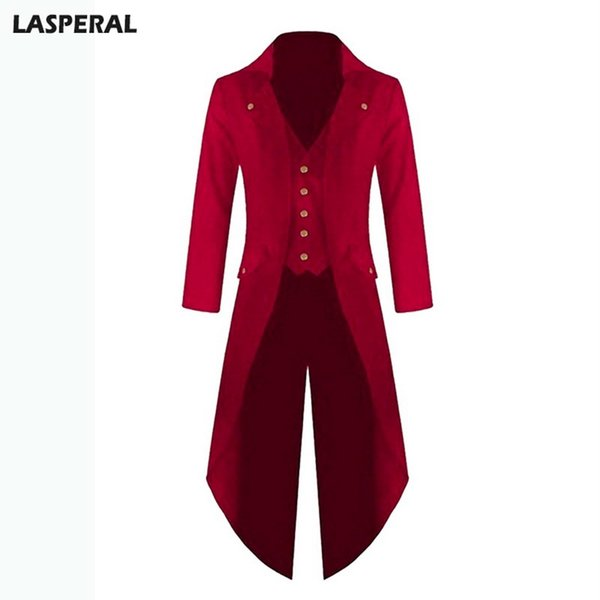 LASPERAL Long Jacket Coat Blazer For Men Plus Size Spring Autumn Fashion Solid Club Windbreaker Wedding Punk Retro Tuxedo 4xl
