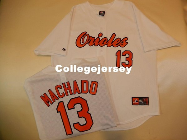 Günstige benutzerdefinierte Top BO # 13 MANNY MACHADO Shirt Jersey Weiß NEW Mens genäht Trikots groß und hoch Größe XS-6XL Zum Verkauf