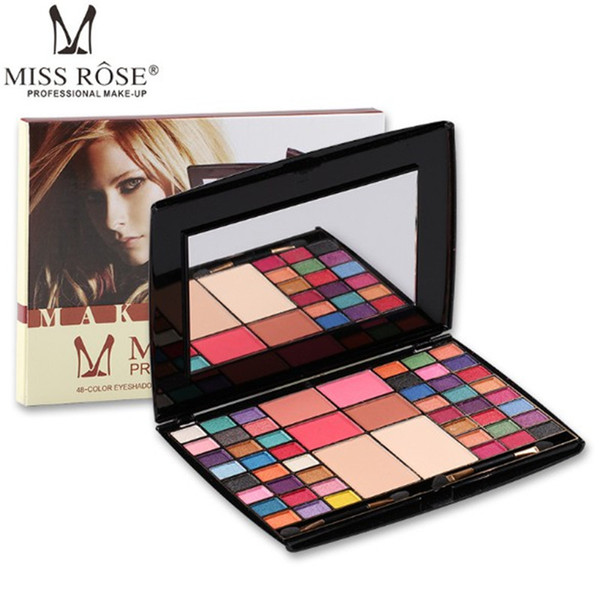 New LOOK Miss Rose 48 colors Professional Makeup artist Eye shadow Palette Blusher Compact powder Matte Glitter With Brush