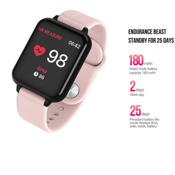 B57 умные часы водонепроницаемый монитор сердечного ритма артериального давления многооконном режиме спорт SmartWatch женщины носимые часы мужчины умные часы