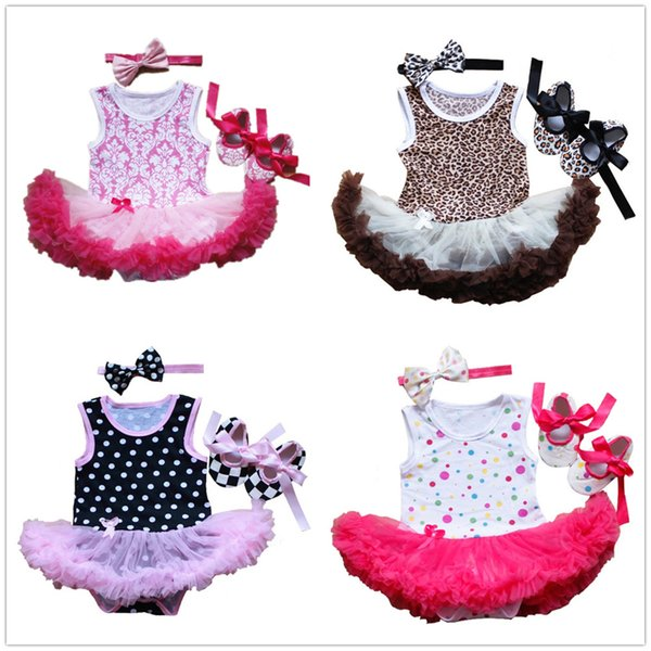2019 Baby Girl Clothes Suit Shoe Hairband Three-Pieces Jumpsuits Newborn Bodysuit Tutu Dress First Walker Girls Summer Clothing 0-2Year